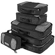 Savisto Packing Cubes – Small, Medium, Large, XL (6-Piece Set) – Black