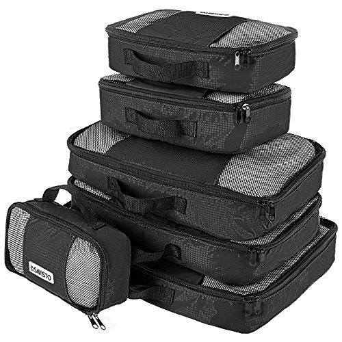 Savisto Packing Cubes - Small, Medium, Large, XL (6-Piece Set) - Black