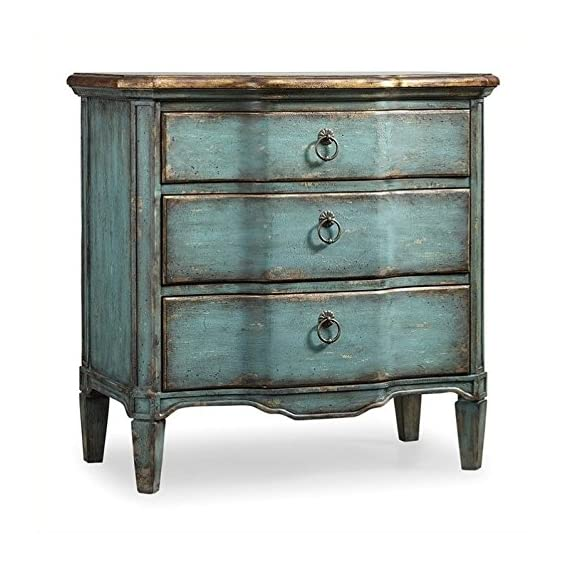 Hooker Furniture Three Drawer Turquoise Chest, Blue - Three Drawers Turquoise With Gold Leaf Finish Ring Pull Hardware - dressers-bedroom-furniture, bedroom-furniture, bedroom - 518jQx0ulUL. SS570  -