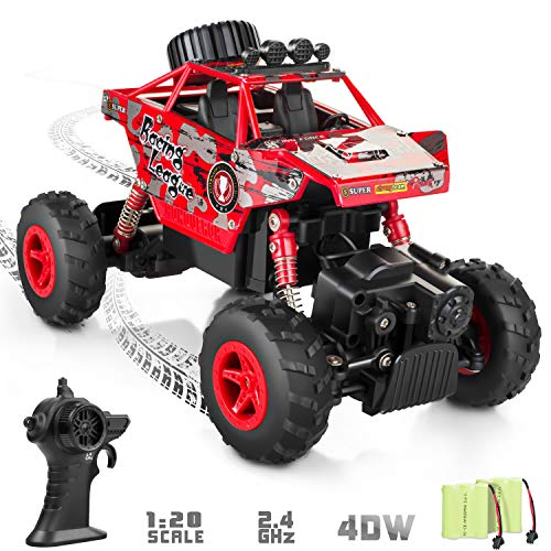 RADCLO RC Car 2.4Ghz 1/20 Dual Motors Rechargeable Remote Control Truck 4WD Off Road RC Truck Vehicle Rock Crawler with Two Rechargeable Batteries (Trucks Crawler Rc)