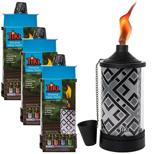 TIKI Brand 3 Pack Tabletop Torches Color Changing LED Lights Outdoor Patio Set -