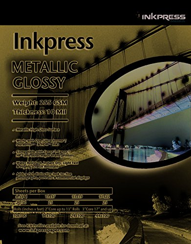 UPC 879155006393, Inkpress,#MP24100, Inkpress Metallic Paper Gloss 255 gsm, 10 mil