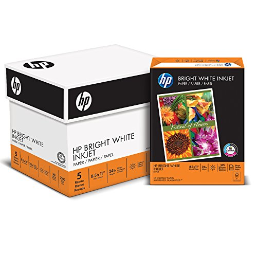 HP Printer Paper, BrightWhite24, 8.5 x 11, Letter, 24lb, 97 Bright, 2,500 Sheets / 5 Ream Carton (203000C) Made In The USA 5 Reams X 500 Sheets