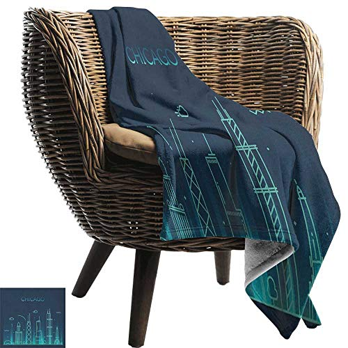 AndyTours Cool Blanket,Chicago Skyline,Blue American Town Panorama City Contemporary Illustration, Dark Blue and Turquoise,for Bed & Couch Sofa Easy Care 30