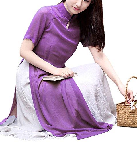 Plaid&Plain Women's Traditional Costume Chiffon Han Chinese Clothing Cheongsam Purple freesize