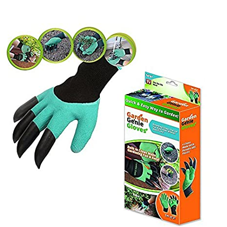 GTC Arden Genie Gloves with Built in Claws for Digging Planting Nursery Plants, Garden Gloves Easy to dig and Plant Safe for Rose Pruning - 1 Pair (701-1)
