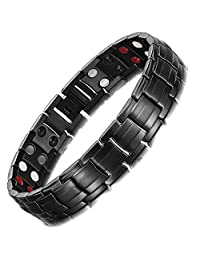 RainSo Mens Black Titanium Steel Double Row Magnetic Health Therapy Bracelet 4 Power Elements Pain Relief for Arthritis