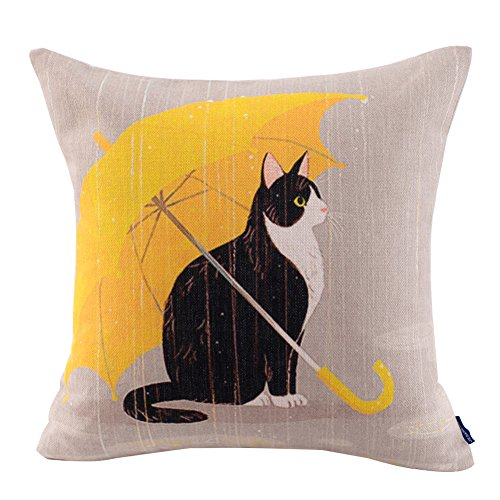 JES&MEDIS Cute Cat Theme Print Square Throw Pillow Cover Cotton Linen Spring Home Decorative Cushion Case for Bed Office Car 18 x 18 Inches, Yellow Umbrella Cat -