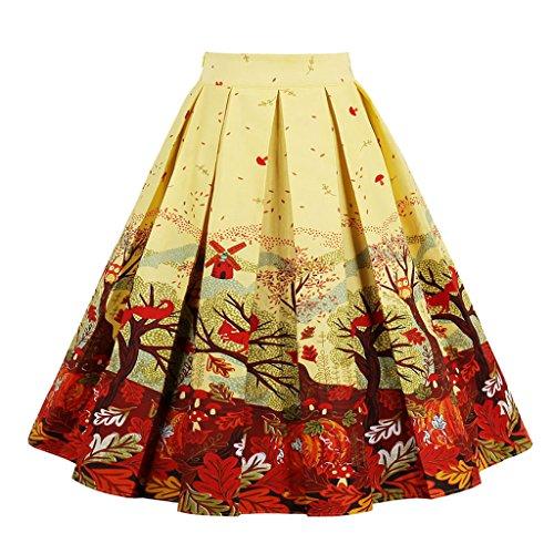 VERNASSA Femmes Coton Polka Dot Floral Annes 50 Inspir Vintage Rockabilly Jupe Cercle Complet Jupes Robe De Soire, Multicolore 1392-jaune