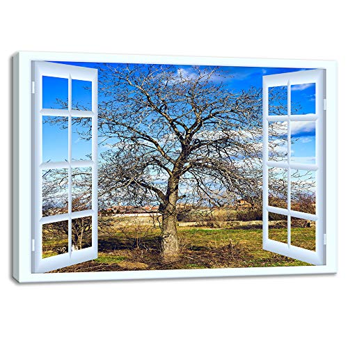 KALAWA Large Nature Window Frame Style Canvas Print Wall Art Modern Famous Open Window Old Oak Tree Wall Picture for Home Decoration Living Room Bedroom Wooden Framed Ready to Hang(24''H ()