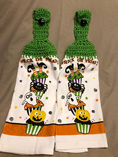 Free shipping to USA - 2 CROCHET KITCHEN hand TOWEL MEDIUM weight terry cloth - Halloween Trick or Treat Cupcake Witch Spider Ghost - Bright Lime Green acrylic yarn top - smoke free - pet free -