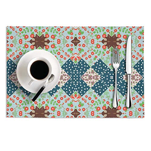 Geralinea Non-Slip Colorful Patchwork Flowers Plaid Countryside Garden Placemats Set Of 2 for Dining Table Heat Resistant Table Mats ()