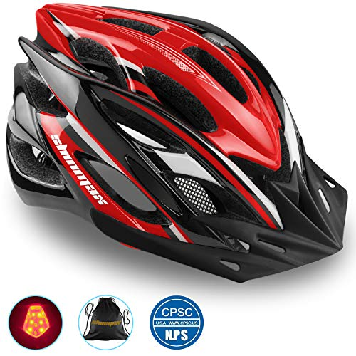 Shinmax Bike Helmet, CPSC Certified Adjustable Light Bike Helmet Specialized Cycling Helmet Men&Women Mountain Bike Helmet with Visor&Rear Light (Black red White) (Specialized Mountain Helmet)