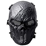 Coxeer Tactical Airsoft Mask Overhead Skull Mask Outdoor Hunting Cs War Game Mask (Black)
