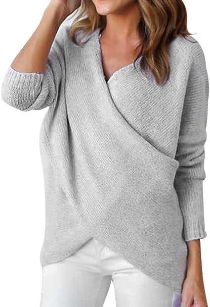 TALLA L. Tookang Mujer Moda Jumpers Casual Suéter Hueco Jersey de Puntode Invierno Knit Tejer Sueter de Largo Regular Pullover Jerséis Tops