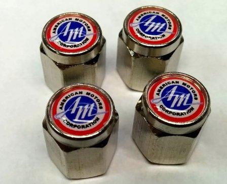 American Motors Corporation AMC Valve Stem Caps (Chrome - AM)