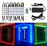10FT Storefront Window LED Light Kit 5050 RGB Injection LED Module Light with Power Plug and 24 Key Remote Controller