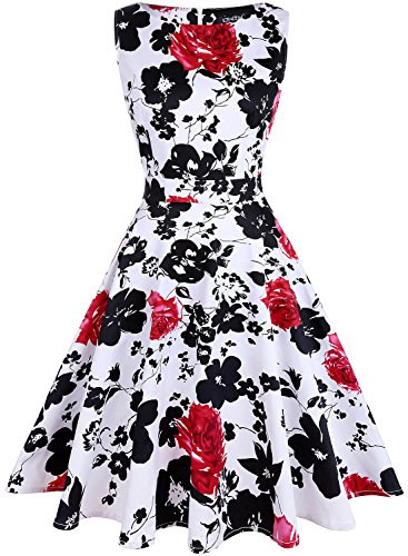 OWIN Women's Vintage 1950's Floral Spring Garden Picnic Dress Party Cocktail Dress ()