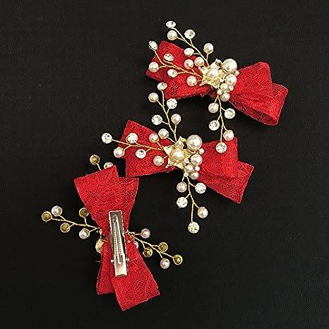 AdornHome Tocado de niña Las niñas Secador de Accesorios horquillas Lazo Rojo Flor sombreros vestidos infantiles Secador de Accesorios Accesorios Accesorios ...