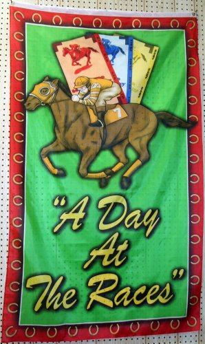 """A Day At the Races House Flag 36""""x60"""""""