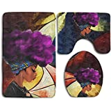 African Women With Purple Hair Skidproof Toilet Seat Cover Bath Mat Lid Cover