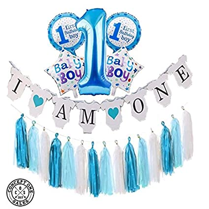 NEW PRODUCT Baby Boy 1st Birthday Party Decoration Set 21 Pieces Banner 5 BIG Mylar Balloons 15pcs 3 Colors Paper Tassels By
