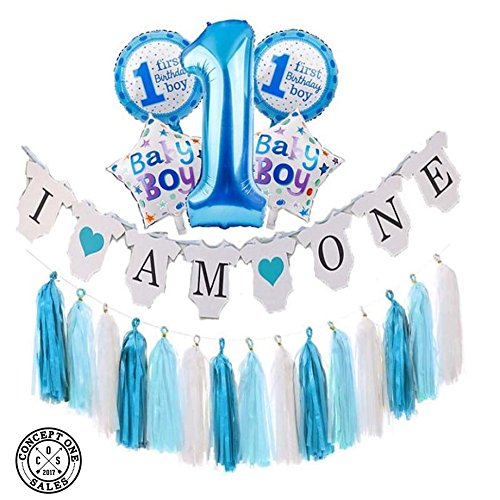 Details About NEW PRODUCT Baby Boy 1St Birthday Party Decoration Set 21 PC Banner 5 BIG Mylar