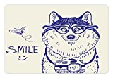 Ambesonne Alaskan Malamute Pet Mat for Food and Water, Cartoon Style Smart Puppy with Glasses Photo Camera and Bee Smile Doodle, Rectangle Non-Slip Rubber Mat for Dogs and Cats, Blue White