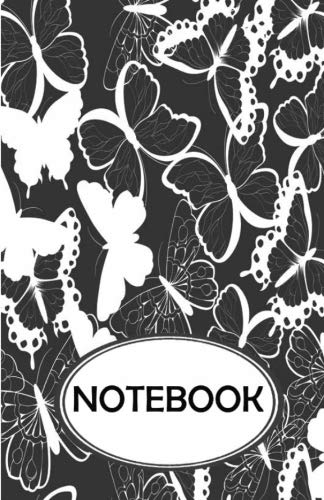 Notebook: Dot-Grid, Graph, Lined, Blank No Lined: Black White Butterflies V.2: Small Pocket Notebook Journal Diary, 110 Pages, 5.5 X 8.5 (Blank Notebook Journal)