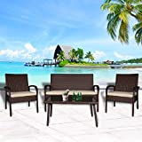 Cloud Mountain 4 PC Patio Rattan Furniture Set Wicker Rattan Conversation Sectional Sofa Glass Top Table Loveseat Outdoor Lawn Sectional , Brown Rattan with Creamy White Cushions
