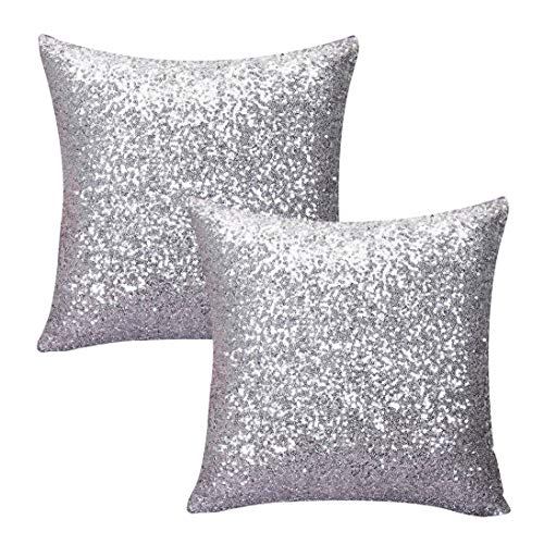 Kithomer Sequins Throw Pillow Cover Solid Glitter Sequins Decorative Square Pillow Case Comfy Satin Solid Cushion Cover for Couch Sofa 16 X 16 Inch, (2 Packs,Silver)