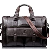 Gracosy Vintage Briefcase,Leather Business Bag Mens Large Working Bag Laptop Bag Teacher Bag For Travel Office Dark Brown-Large 17.7'' 11.8'' 7.87''