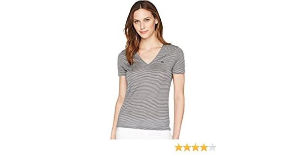 c538b12e7 Lacoste Womens Short Sleeve Classic Ottoman Jersey Milleraies Stripes  V-Neck T-Shirt at Amazon Women s Clothing store