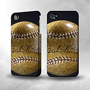 Apple iPhone 4 / 4S Case - The Best 3D Full Wrap iPhone Case - Babe Ruth Baseball Autographed hjbrhga1544