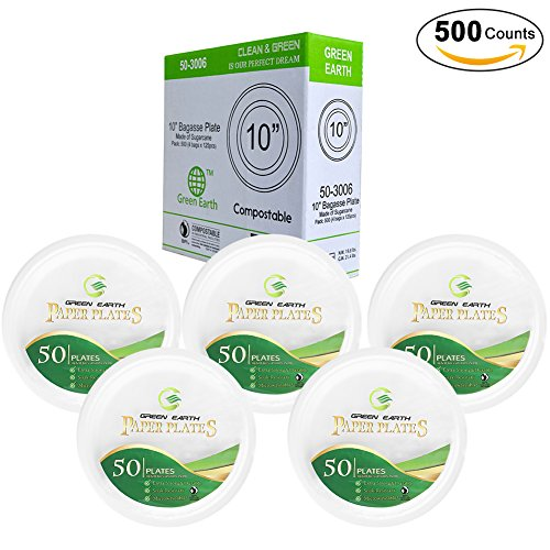 Green Earth Disposable Plates,Natural Bagasse (Sugarcane Fiber)10 inches(25cm) Round Everyday Paper Plates. Eco-Friendly Party/Wedding Dinner/ Outdoor Sturdy Plates(500 Counts) (Center Sugar Bowl)
