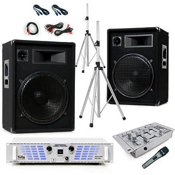 1600W PA sistema de música de fiesta altavoces Amplificadores Mesa mezcladora M USB MP3 Speaker Stands