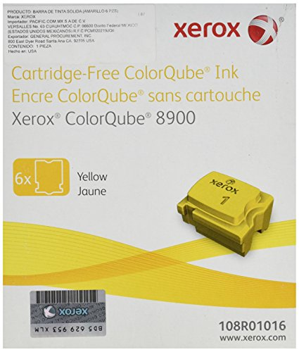 Genuine Xerox Yellow Solid Ink Sticks for the ColorQube 8900 (6 per box), 108R01016
