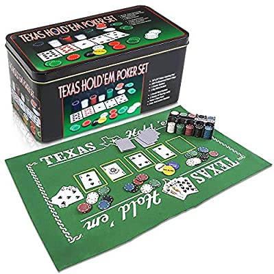 Gamie Texas Holdem Poker Game Set - Includes Hold'em Mat, 2 Card Decks, Chips, Chip Holder and Tin Storage Box - Fun Game Night Supplies - Cool Casino Gift for Kids and Adults: Toys & Games