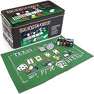 Gamie Texas Holdem Poker Game Set - Includes Hold'em Mat, 2 Card Decks, Chips, Chip Holder and Tin Storage Box - Fun Game Ni