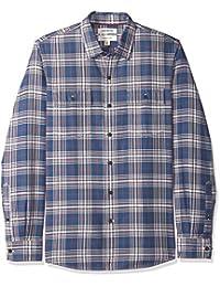 Men's Slim-Fit Long-Sleeve Plaid Twill Shirt