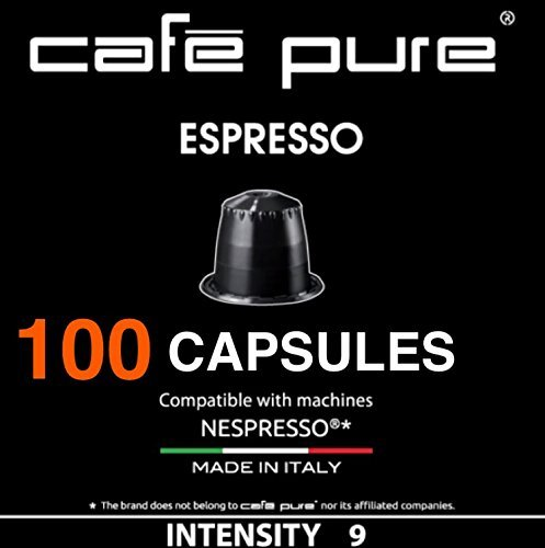 COFFEE NESPRESSO COMPATIBLE Capsules ($0.30) -Cafe Pure- For all NESPRESSO original line Machines,100 Pods For $29.99 Made in ITALY (100, Black)