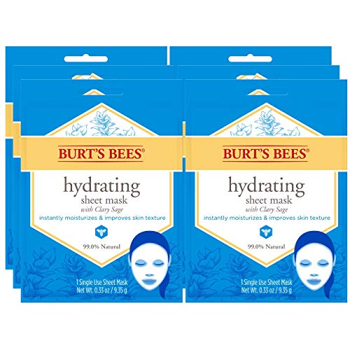 Moisture Intense Mask - Burt's Bees Hydrating Face Mask, Single Use Sheet Mask, 6 Count