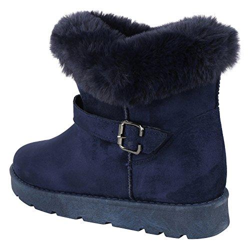 napoli-fashion Bequeme Warm Gefütterte Damen Schuhe Stiefel Schlupfstiefel Jennika Dunkelblau Navy