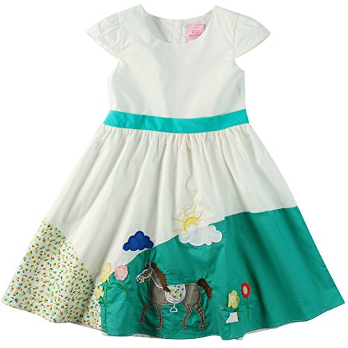 Sharequeen Fashion White Cotton Children Dresses Cap Sleeves Green Embroidery Short Lovely Dresses (6 Years, (Lovely Cotton Short)