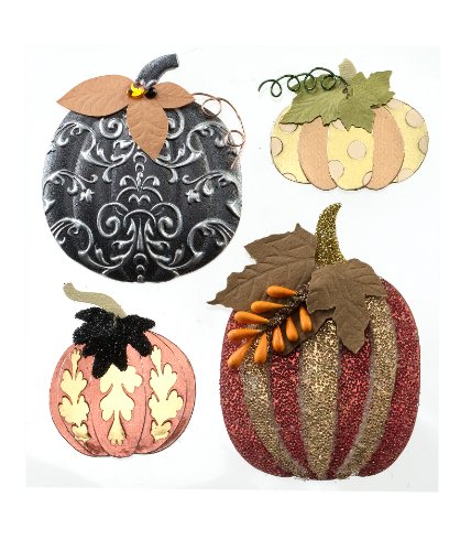 Jolee's Boutique Dimensional Stickers, Metallic Pumpkins