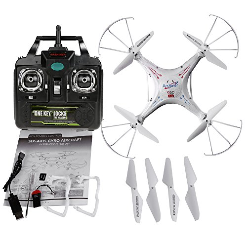 Arshiner Q5C RC Explorers Quadcopter Drone 2 MP Camera 4 GB Card 6 Axis Gyro 4CH 24 GHZ UFO White