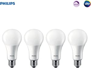 Philips LED 472399 100 Watt Equivalent Frosted A21 Dimmable LED Energy Star with Warm Glow Effect Light Bulb (4 Pack), 4-Pack, 4 Piece