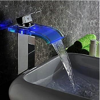 Yanksmart Bathroom 3 Colors LED Faucet Single Handle Basin Mixer Tap . Chrome 96s