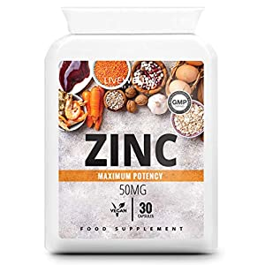 Zinc Capsules 50mg | 30 Easy to Swallow, Vegan, Zinc Gluconate Capsules | Made in The UK (30 Capsules)