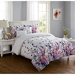 VCNY Misha Soft Floral 5-Piece KING Size Comforter Set in White/Purple Made of 100% Polyester